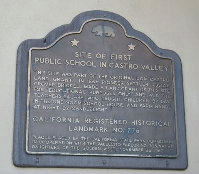 Site of the First Public School in Castro Valley Marker image. Click for full size.