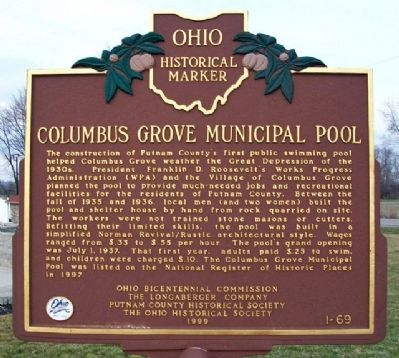 Columbus Grove Municipal Pool Marker image. Click for full size.