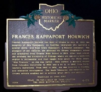 Frances Rappaport Horwich Marker (Side A) image. Click for full size.