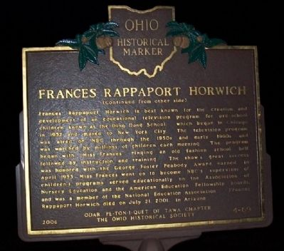 Frances Rappaport Horwich Marker (Side B) image. Click for full size.