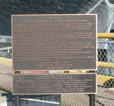 The Jimmy Doolittle Pier – Alameda Naval Air Station Marker image. Click for full size.