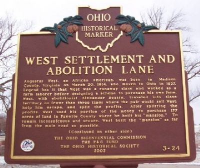West Settlement and Abolition Lane Marker (Side A) image. Click for full size.