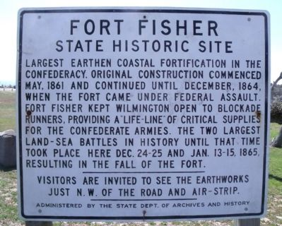 Fort Fisher Marker image. Click for full size.