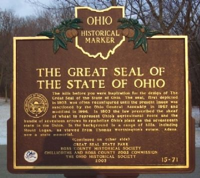 Great Seal of the State of Ohio Marker (Side A) image. Click for full size.