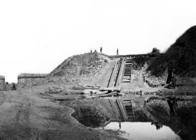 View of first traverse, NW end showing entrance to Fort Fisher. image. Click for full size.