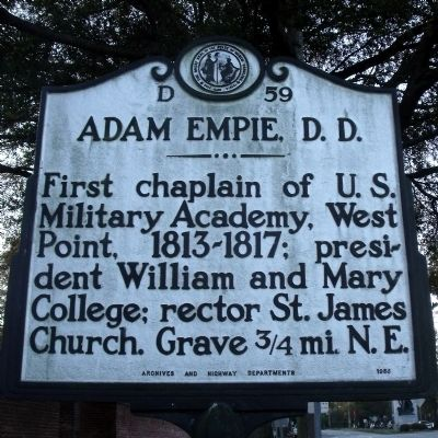 Adam Empie, D.D. Marker image. Click for full size.