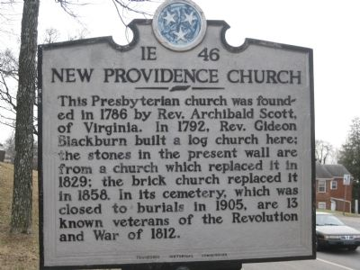 New Providence Church Marker image. Click for full size.