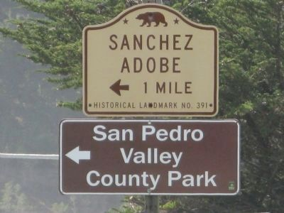 Sanchez Adobe Directional Sign Located on State Highway 1 image. Click for full size.