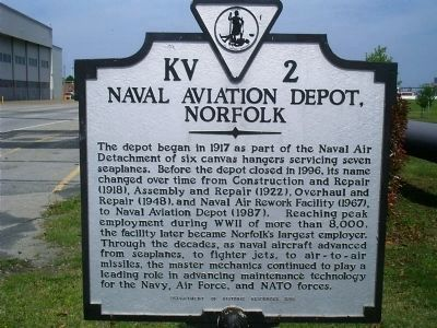 Naval Aviation Depot, Norfolk Marker image. Click for full size.