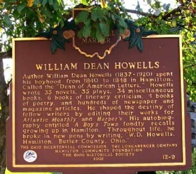 William Dean Howells Marker image. Click for full size.