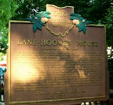 Lane-Hooven House Marker (Side B) image. Click for full size.
