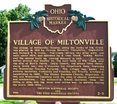 Village of Miltonville Marker image. Click for full size.