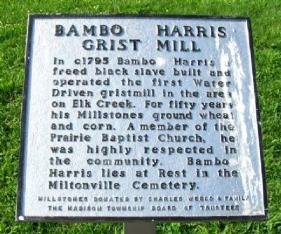 Bambo Harris Grist Mill Marker image. Click for full size.