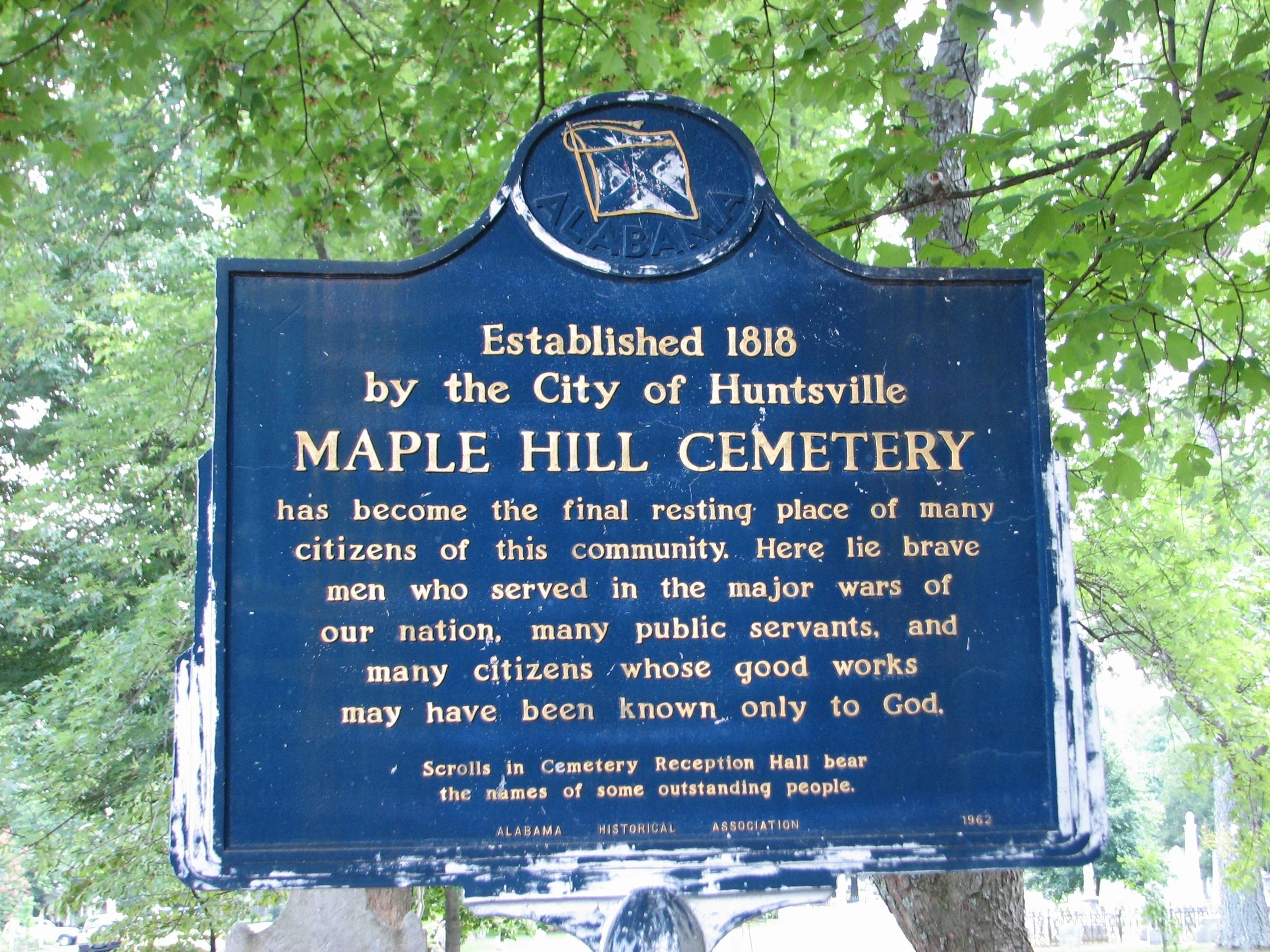 Maple Hill Cemetery Marker (side 1)