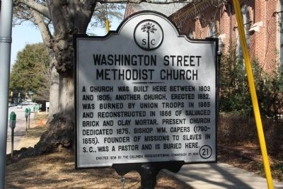 Washington Street Methodist Church Marker image. Click for full size.