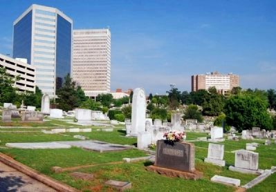 Springwood Cemetery -<br>Greenville Skyline in Background image. Click for full size.
