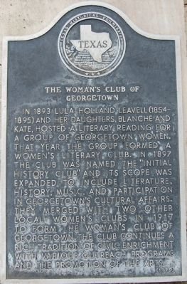 The Woman's Club of Georgetown Marker image. Click for full size.