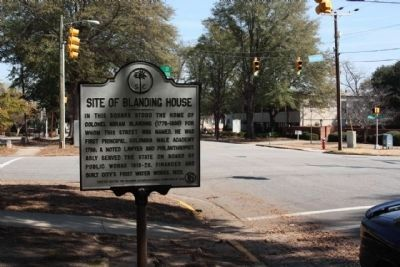 Site of Blanding House Marker, looking along Blanding Street image. Click for full size.