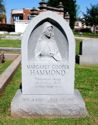 Margaret Cooper Hammond (1911-1987) Tombstone image. Click for full size.