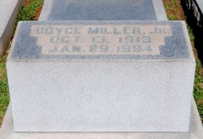 Boyce Miller, Jr. (1913-1994) Tombstone image. Click for full size.