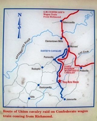 Route of Union cavalry raid on Confederate wagon train coming from Richmond. image. Click for full size.