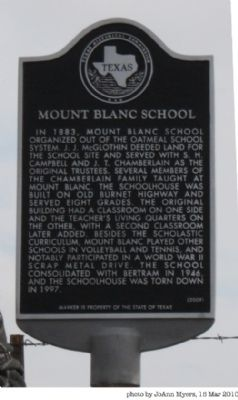 Mount Blanc School Marker image. Click for full size.