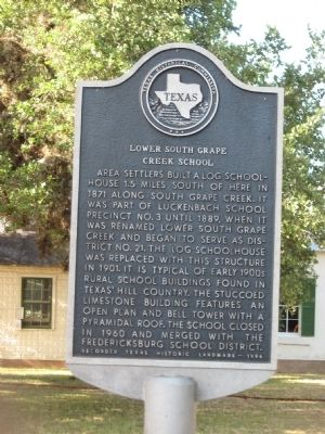 Lower South Grape Creek School Marker image. Click for full size.