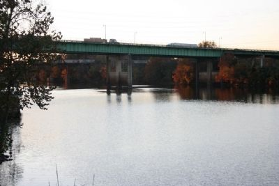 Downriver view of the Black Warrior River and the Lurleen B. Wallace Blvd Bridge. image. Click for full size.
