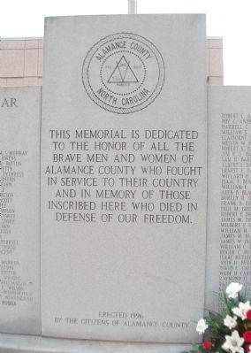 Alamance County War Memorial Marker image. Click for full size.