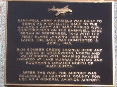 Barnwell Army Airfield Marker image. Click for full size.