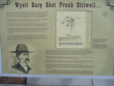 Wyatt Earp Shot Frank Stilwell Marker image. Click for full size.