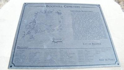 Boothill Cemetery Historical Significance monument - close-up image. Click for full size.