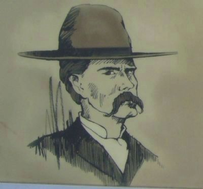 Sketch of Wyatt Earp Shown on Marker image. Click for full size.