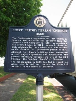 First Presbyterian Church (1818) Marker image. Click for full size.