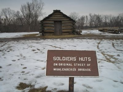 Soldiers' Huts Marker image. Click for full size.