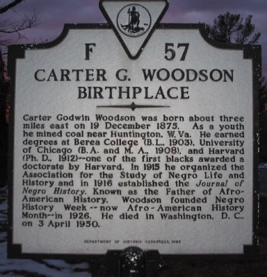 Carter G. Woodson Birthplace Marker image. Click for full size.