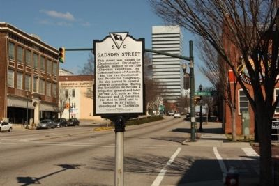 Gadsden Street Marker, looking east along Gervais Street image. Click for full size.