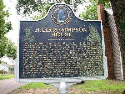 Harris-Simpson Home Marker - Side A image. Click for full size.
