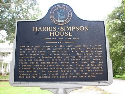 Harris-Simpson Home Marker - Side B image. Click for full size.