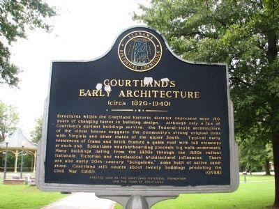 Courtland's Early Architecture Marker - Side A image. Click for full size.