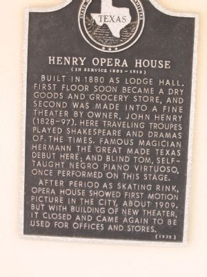 Henry Opera House Marker image. Click for full size.