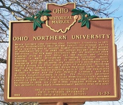 Ohio Northern University Marker image. Click for full size.