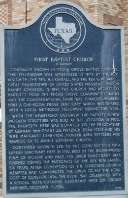 First Baptist Church of Bartlett Marker image. Click for full size.