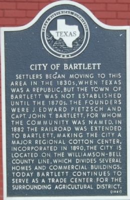 City of Bartlett Marker image. Click for full size.