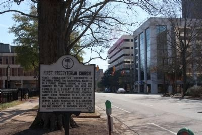 First Presbyterian Church Marker, looking south on Marion Street image. Click for full size.