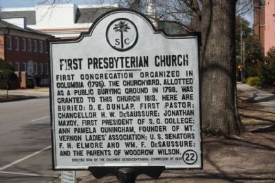 First Presbyterian Church Marker, as seen looking north image. Click for full size.