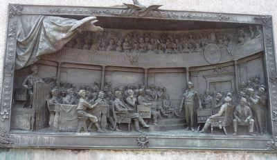 Daniel Webster Memorial - bronze bas relief on east face of monument: image. Click for full size.