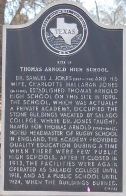 Site of Thomas Arnold High School Marker image. Click for full size.