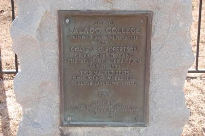 Site of Salado College Plaque image. Click for full size.