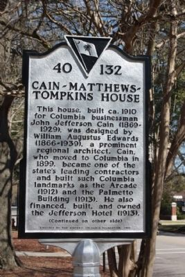Cain- Matthews- Tompkins House Marker image. Click for full size.